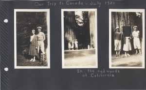 In the Redwoods of California. Aunt Irene's picture in the third photo has been cut out. With the Boyds in the three photos.