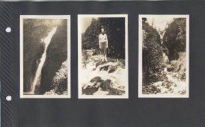 Maybe the Multnomah Falls, identified in other photos in this series, with Eva Boyd in the center photo.