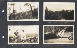 Oregon! Mt. Hood and the Oregon Caves. Looks like Uncle Pete in one photo with Eva Boyd, and maybe Uncle Pete and Ernest Boyd in another.