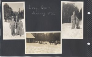 Long Barn in the snow in Jan 1932. There is a Long Barn in Tuolumne County which had a lodge built in the 1920's. This might be where they went on winter holiday. Uncle Pete (Cletus Burns) is in one photo with a child I can't identify; nor can I identify the other man with two children in the other photo.