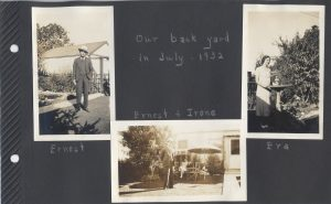 Three photos of people in the backyard of a house in San Jose in July 1932