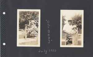Photos of a baby on a chair and a man holding a baby, in 1933