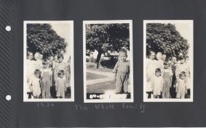 The Whole Family. Pretty sure that's Junior in the middle photo, and he's the smallest in the other two photos. Walter next smallest? Then Harold in the overalls? Gertrude behind Junior? That's Dorothy behind her. Great Grandma (Floy Hogg) on left, Great Grandpa (George Daniel Ludwig) in the back middle. I don't know the two older women in the back. The other fellow might be James Bayard?