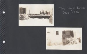 Two photos of snow on the ground in front of a house in Dec. 1932
