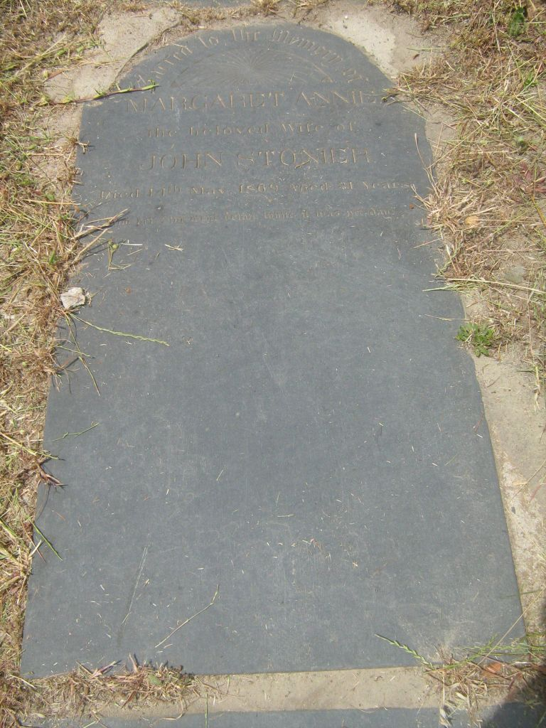 Sacred to the Memory of Margaret Annie beloved wife of John Stonier died 14 May 1869 aged 31 years. And her sould went down while it wa still day.