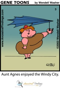 Aunt Agnes Enjoyed The Windy City (Genetoons Cartoon #003)