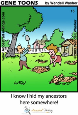 I know I hid my ancestors here somewhere! (Genetoons Cartoon #15)