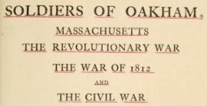 oakham ma muster roll 1812