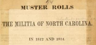 published 1851 muster rolls north carolina militia 1812