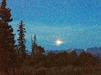 Full moon in sky on Vernal Equinox seen from Timber Bay B&B by MM Rydesky