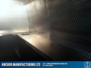 Burger Van kitchen steel cladding.