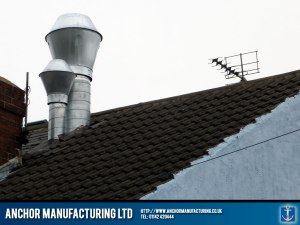 Roof kitchen ducting and silencer.