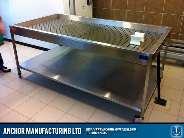 Mortuary table in Sheffield stainless steel.