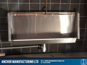 Stainless steel wall hung urinal trough
