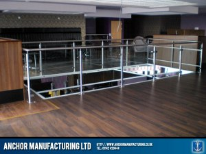 Nightclub balustrade with glass panelling.