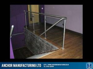 Nightclub steel and glass balustrade handrails.