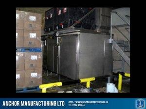 Factory bottle cap hopper in Sheffield stainless steel.