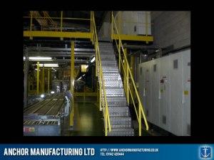 Factory balustrade and mezzanine floor in steel.
