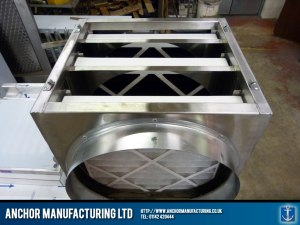 Steel air filtration box with detachable sides.
