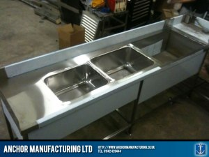 triple kitchen sink unit.