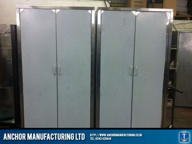 Free standing stainless steel storage cupboards.