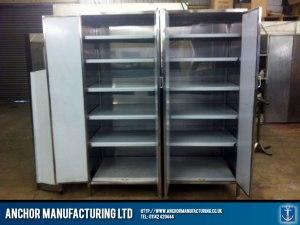 Kitchen Storage cupboards in Sheffield stainless steel.