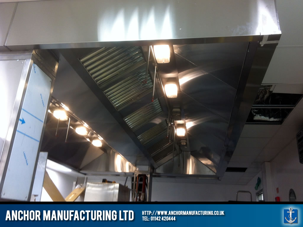 industrial kitchen canopy installed.   anchor manufacturing ltd