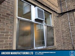 Input air filter box installed via window.