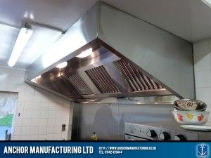 Stainless steel kitchen canopy pub kitchen.