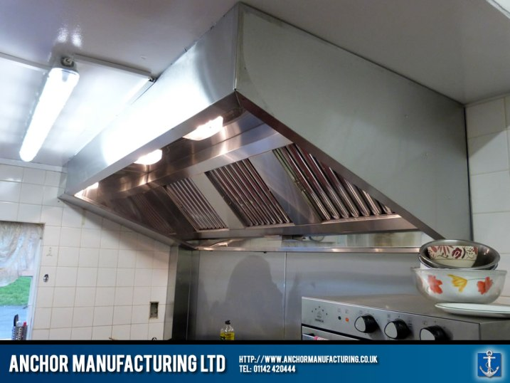Stainless steel kitchen canopy pub kitchen.