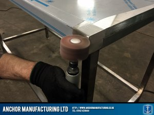 detailed steelwallbench polishing