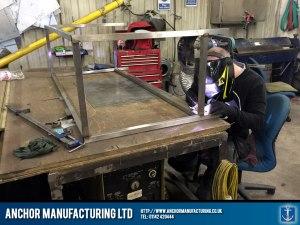 welding seam kitchen detail wall bench