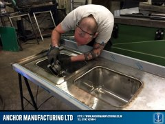 Steel sink grinding & polishing