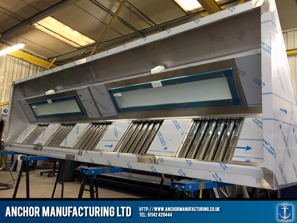Finished Steel Kitchen Canopy LED lighting & Sheffield Kitchen Canopy with LED lighting | Anchor Manufacturing LTD