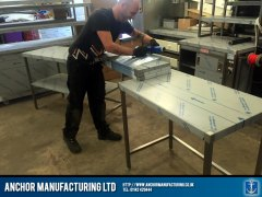 School kitchen wall tables being made
