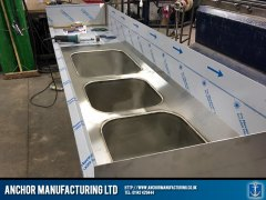 triple sink unit fabricated