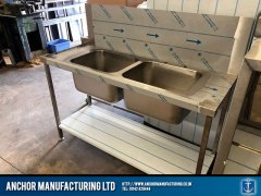 Customised kitchen double sink unit design side view