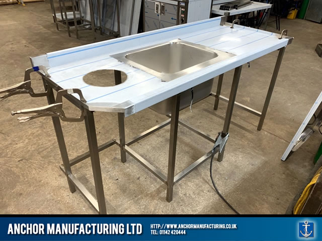 Sheffield Stainless steel wall bench with hole