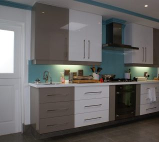Anchor Property Group - kitchen renovation brown and white cupboards zink