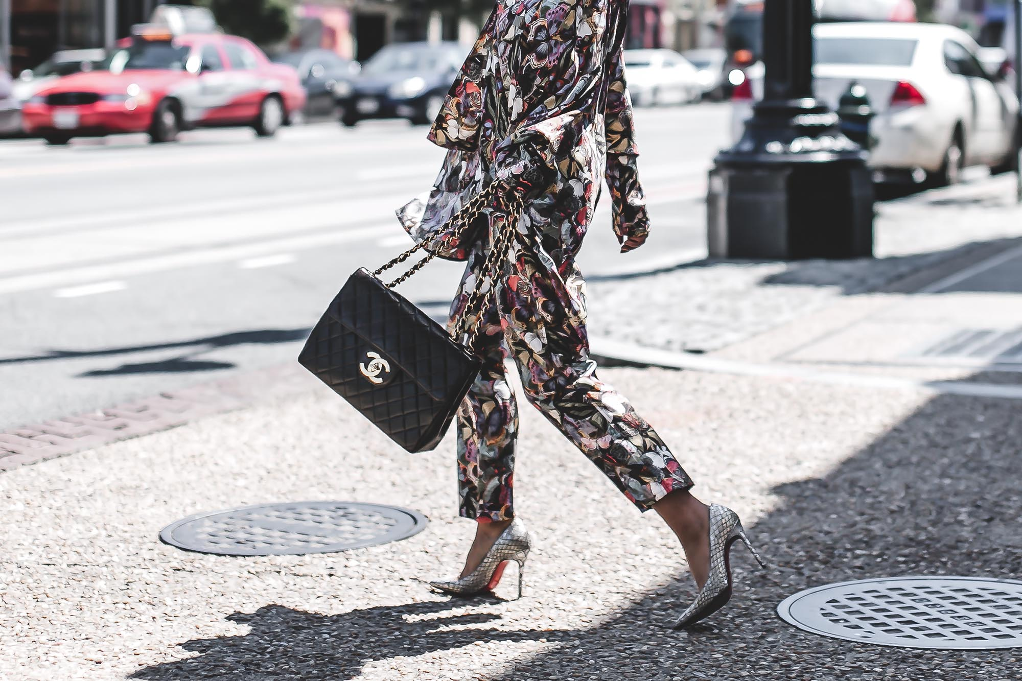 Anchyi Adorned fashion blogger street style in Valentino PJs pajama set and Chanel bag