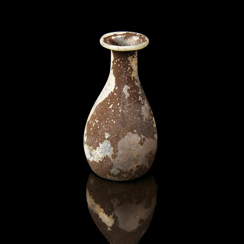 Ancient Roman Pear-Shaped Glass Bottle