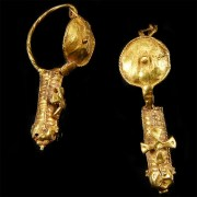 Byzantine Gold Earrings with a Cross