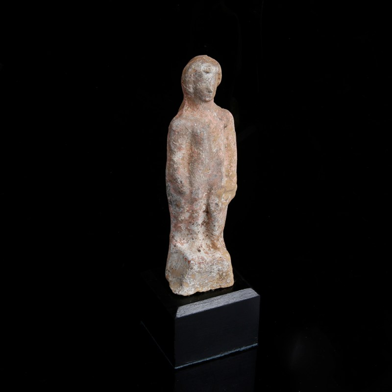 Greek Terracotta Statuette with Polychromy