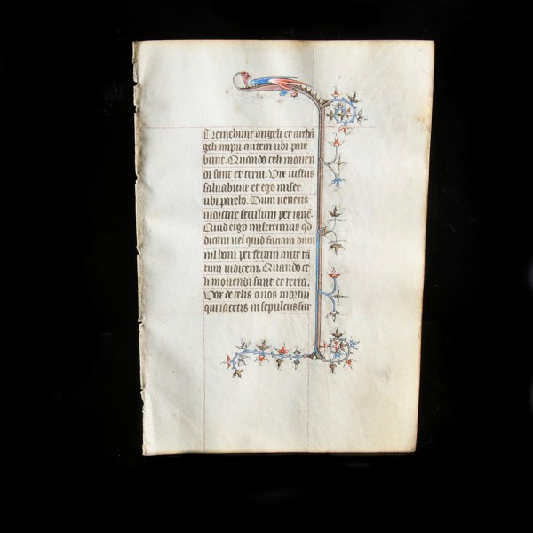 Medieval Manuscript Leaf with Dragon
