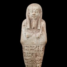 Egyptian Faience Shabti for the Overseer of the Royal Fleet under the Reign of Pharaoh Amasis