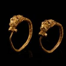 Greek Hellenistic Earrings with Bull's Head Terminals
