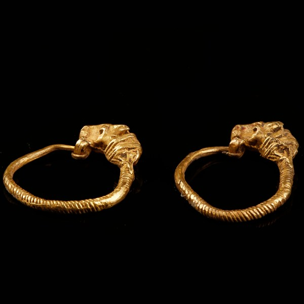 Greek Hellenistic Earrings with Bull's Head Terminals