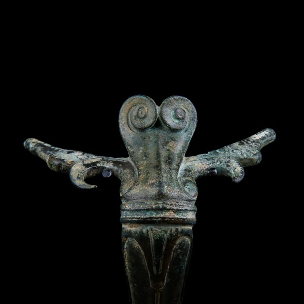 Roman Bronze Handle with Cupid and Theatre Mask