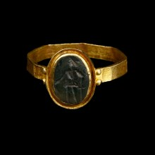 Roman Intaglio Ring with Donkey and Mouse