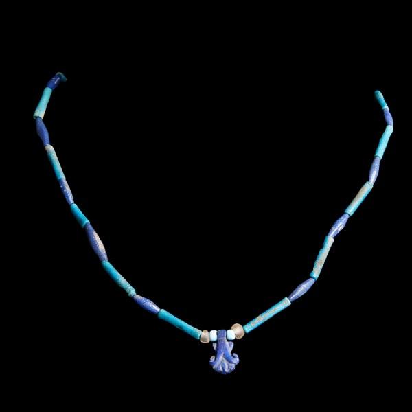 Egyptian Necklace with Lapis Lazuli Palmette Amulet